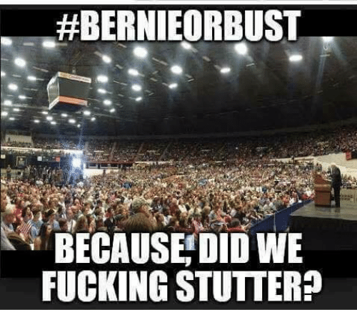 BERNIEORBUST BECAUSE DID WE FUCKING STUTTER? | Meme on ME ME