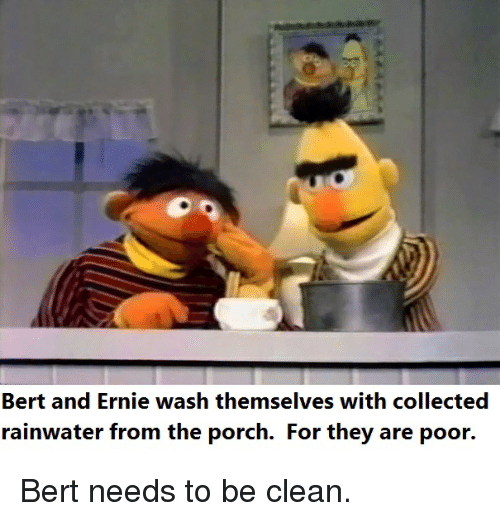 Bert And Ernie Wash Themselves With Collected Rainwater From