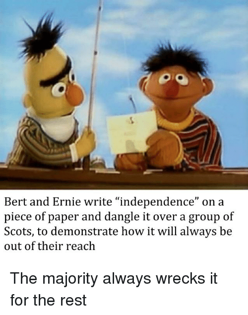 Bert And Ernie Write Independence On A Piece Of Paper And