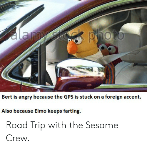 Bert Is Angry Because The Gps Is Stuck On A Foreign Accent Also