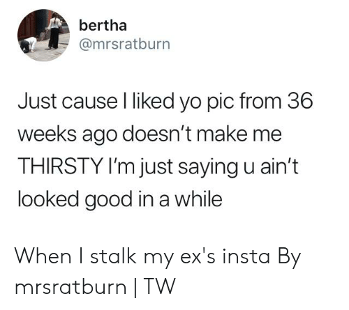 Dank, Ex's, and Thirsty: bertha  @mrsratburn  Just cause l liked yo pic from 36  weeks ago doesn't make me  THIRSTY I'm just saying u ain't  looked good in a while When I stalk my ex's insta  By mrsratburn | TW