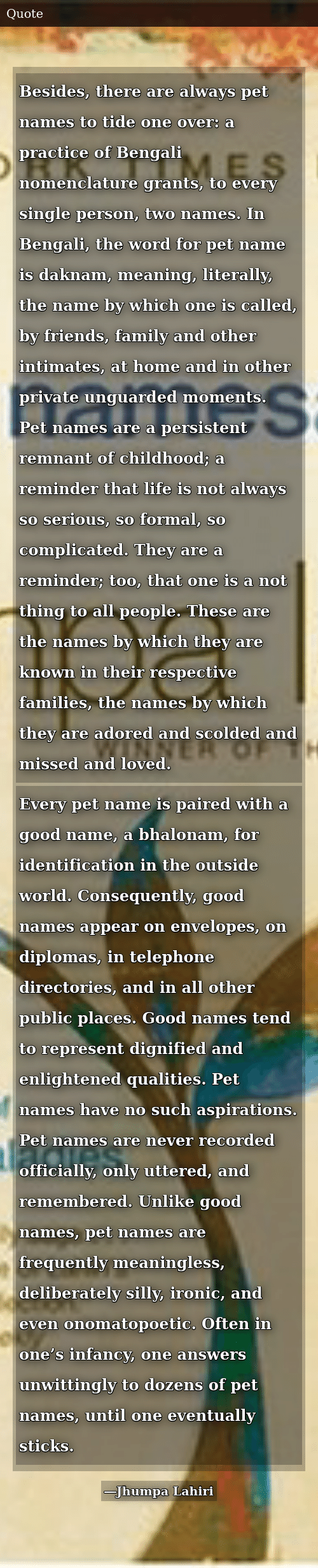 Besides There Are Always Pet Names to Tide One Over a Practice of