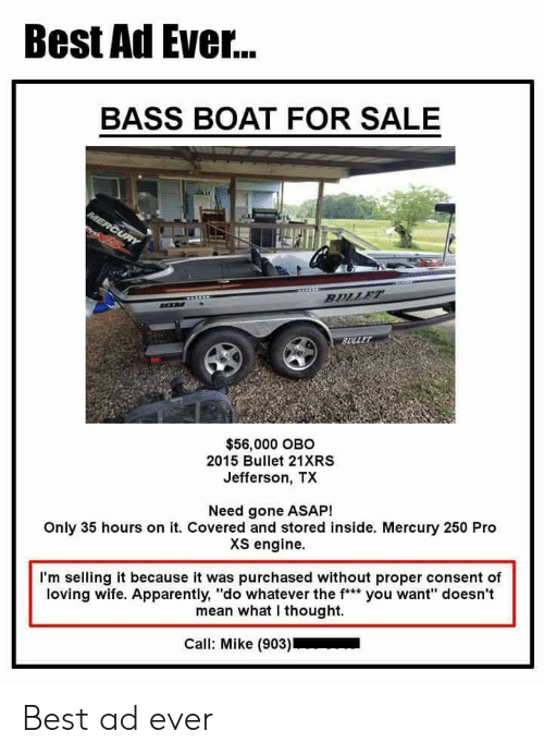 Best Ad Ever BASS BOAT FOR SALE $56000 OBO 2015 Bullet 21XRS