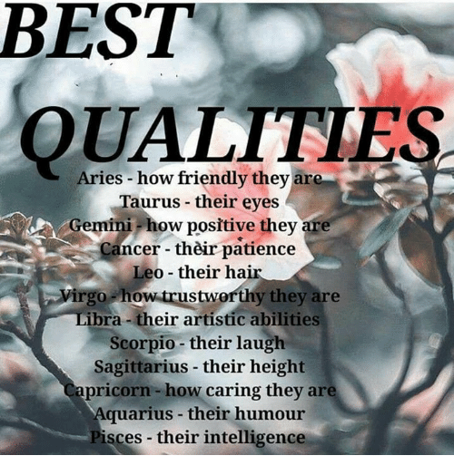Aquarius, Aries, and Best: BEST  Aries how friendly they are  Taurus their eyes  Gemini how positive they are  Cancer their patience  Leo their ha  virgo how trustworthy they are  bra their artistic abilities  Scorpio their laugh  Sagittarius their height  apricorn how caring they are  Aquarius their humour  sces their intelligence