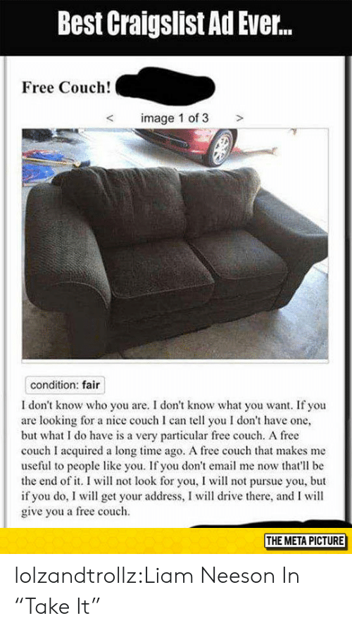 Best Craigslist Ad Ever Free Couch! <image 1 of 3