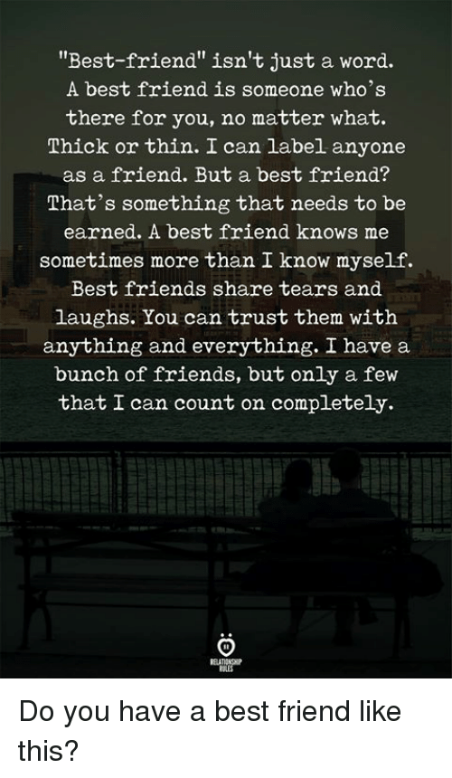 "Best Friend, Friends, and Best: ""Best-friend"" isn't just a word.  A best friend is someone who's  there for you, no matter what.  소hick or thin. can label anyone  as a friend. But a best friend?  That's something that needs to be  earned. A best friend knows me  sometimes more than I know myself.  Best friends share tears and  laughs. You can trust them witlh  anything and everything. I have a  bunch of friends, but only a fevw  that I can count on completely. Do you have a best friend like this?"