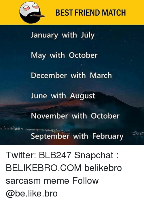 Be Like, Best Friend, and Meme: BEST FRIEND MATCH  January with July  May with October  December with March  June with August  November with October  September with February Twitter: BLB247 Snapchat : BELIKEBRO.COM belikebro sarcasm meme Follow @be.like.bro