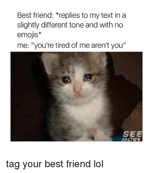 "Best Friend, Lol, and Best: Best friend: *replies to my text in a  slightly different tone and with no  emojis*  me: ""you're tired of me aren't you""  SEE  MORE tag your best friend lol"