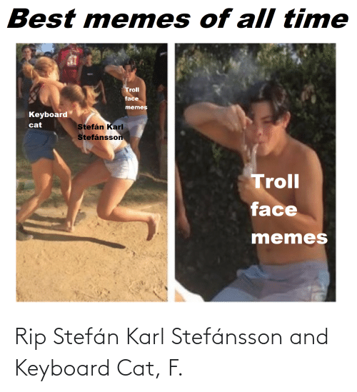 Memes, Troll, and Best: Best memes of all time  Troll  face  memes  Keyboard  cat  Stefán Karl  Stefánsson  Troll  face  memes Rip Stefán Karl Stefánsson and Keyboard Cat, F.