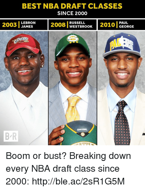 Nba, Best, and Http: BEST NBA DRAFT CLASSES  SINCE 2000  RUSSELL  LEBRON  PAUL  2003  JAMES  WESTBROOK  GEORGE  B R Boom or bust?  Breaking down every NBA draft class since 2000: http://ble.ac/2sR1G5M