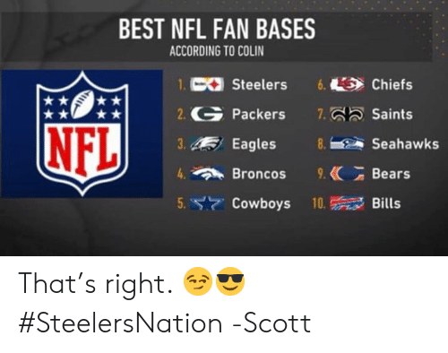 Dallas Cowboys, Philadelphia Eagles, and Memes: BEST NFL FAN BASES  ACCORDING TO COLIN  1.C Steelers6. Chiefs  2. Packers 7.Saints  3.Eagles  4Broncos. Bears  5. Cowboys 10Bills  NFL  Seahawks That's right. 😏😎 #SteelersNation   -Scott