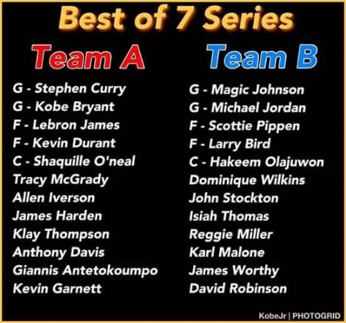 Allen Iverson, James Harden, and Kevin Durant: Best of 7 Series  Team A  Team B  G- Stephen Curry  G Kobe Bryant  F Lebron James  F Kevin Durant  C- Shaquille O'neal  Tracy McGrady  G Magic Johnson  G- Michael Jordan  F- Scottie Pippen  F Larry Bird  C- Hakeem Olajuwon  Dominique Wilkins  Allen Iverson  John Stockton  James Harden  Isiah Thomas  Klay Thompson  Anthony Davis  Giannis Antetokoumpo  Reggie Miller  Karl Malone  James Worthy  David Robinson  Kevin Garnett  KobeJr PHOTOGRID
