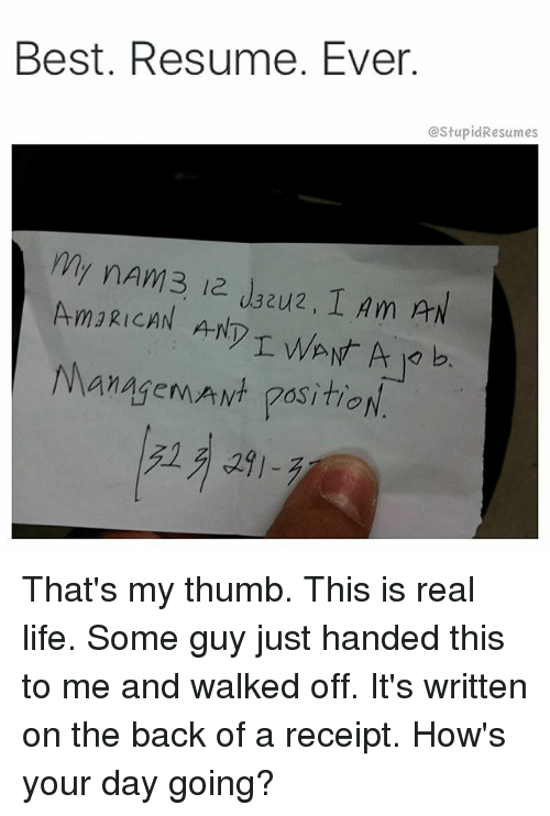 best resume ever am3rican ant managemawt gosition that s my thumb