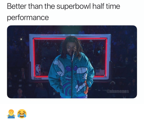 Basketball, Nba, and Sports: Better than the superbowl half time  performance  wwim  SPALDING  @nbamemes 🤷♂️😂