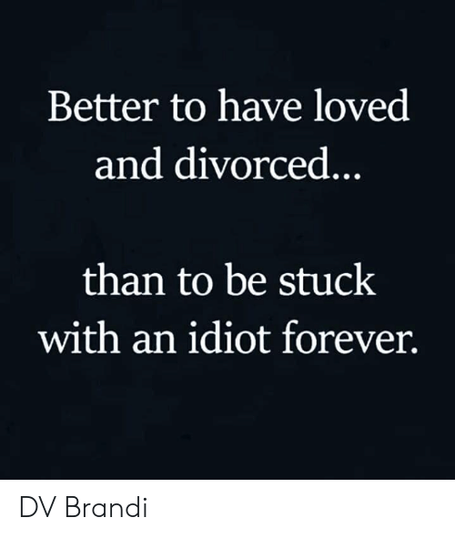 Memes, Forever, and Idiot: Better to have loved  and divorced..  than to be stuck  with an idiot forever. DV Brandi