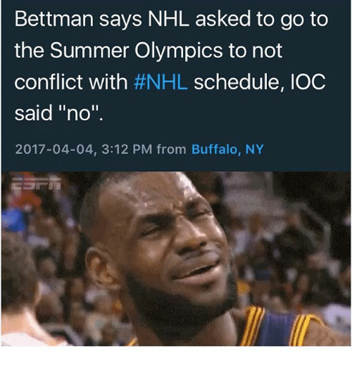 Bettman Says Nhl Asked To Go To He Summer Olympics To Not Conflict