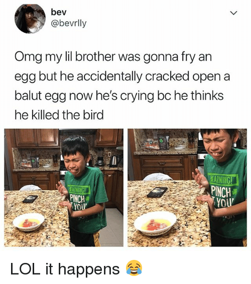 Crying, Lol, and Omg: bev  @bevrlly  Omg my lil brother was gonna fry an  egg but he accidentally cracked open a  balut egg now he's crying bc he thinks  he killed the birg  ARNING!  PINCH  YOU  PINCH LOL it happens 😂