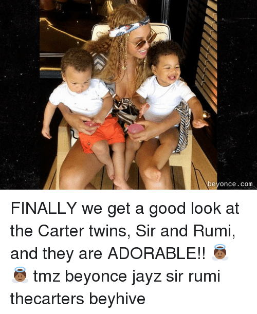 Beyonce, Memes, and Twins: beyonce.com FINALLY we get a good look at the Carter twins, Sir and Rumi, and they are ADORABLE!! 👼🏾👼🏾 tmz beyonce jayz sir rumi thecarters beyhive