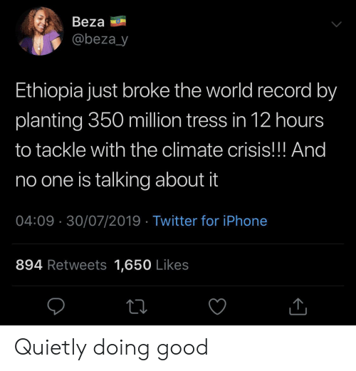 Iphone, Twitter, and Good: Beza  @beza_y  Ethiopia just broke the world record by  planting 350 million tress in 12 hours  to tackle with the climate crisis!!! And  no one is talking about it  04:09 30/07/2019 Twitter for iPhone  894 Retweets 1,650 Likes Quietly doing good