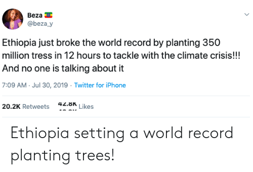 Iphone, Twitter, and Record: Beza  @beza_y  Ethiopia just broke the world record by planting 350  million tress in 12 hours to tackle with the climate crisis!!!  And no one is talking about it  7:09 AM Jul 30, 2019 Twitter for iPhone  42.8K  Likes  20.2K Retweets Ethiopia setting a world record planting trees!