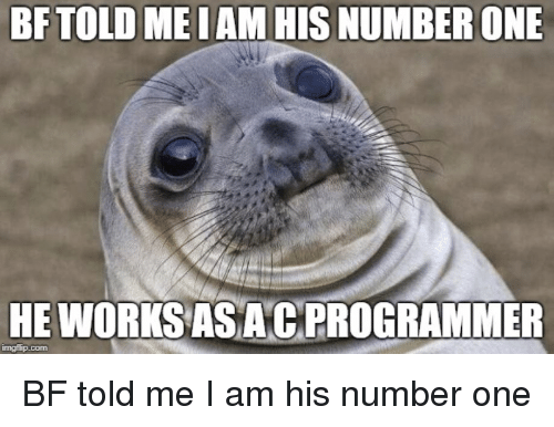 Programmer Humor, Com, and One: BFTOLD MEIAM HIS NUMBER ONE  HE WORKSAS ACPROGRAMMER  mgflip.com BF told me I am his number one