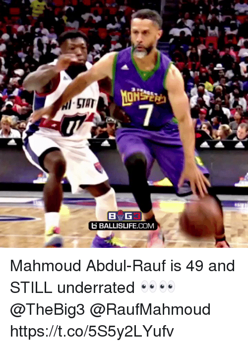 Memes, 🤖, and Com: BG  E BALLISLIFE.COM Mahmoud Abdul-Rauf is 49 and STILL underrated 👀👀 @TheBig3 @RaufMahmoud https://t.co/5S5y2LYufv