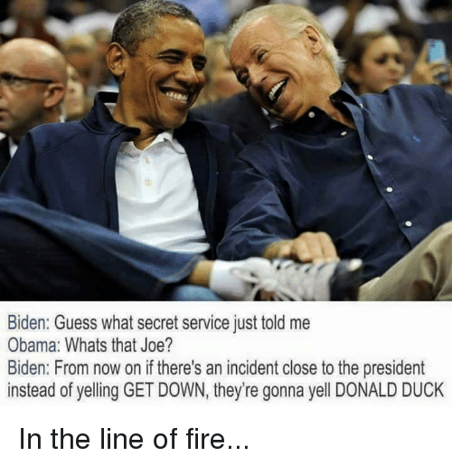 Dank, Joe Biden, and Duck: Biden: Guess what secret service just told me  Obama: Whats that Joe?  Biden: From now on if there's an incident close to the president  instead of yelling GET DOWN, they're gonna yell DONALD DUCK In the line of fire...