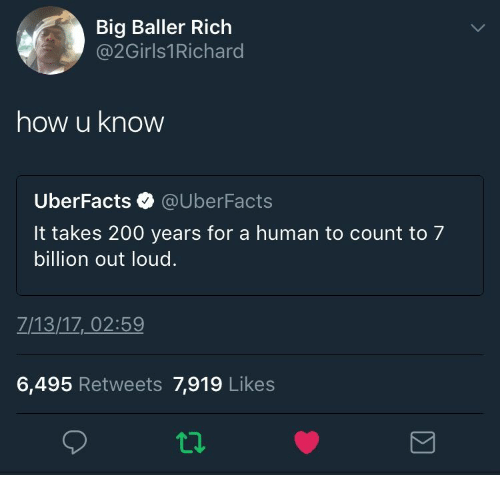 bd7f4c1c Big Baller Rich How U Know UberFacts It Takes 200 Years for a Human ...