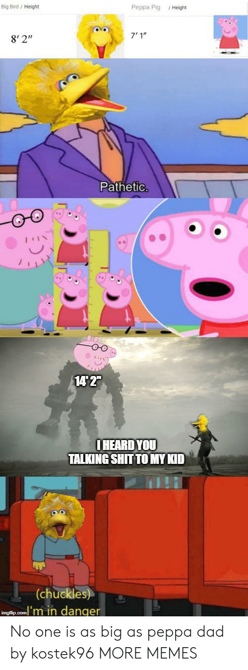 """Dad, Dank, and Memes: Big Bird/ Height  Peppa Pig Height  7'1""""  8' 2""""  Pathetic.  14 2""""  IHEARD YOU  TALKING SHIT TO MY KID  (chuckles)  inglip.com'm in danger No one is as big as peppa dad by kostek96 MORE MEMES"""