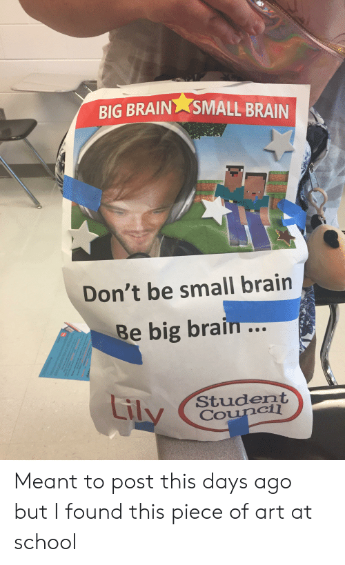 School, Brain, and Art: BIG BRAIN  SMALL BRAIN  Don't be small brain  Be big brain...  Liky  Student  Council Meant to post this days ago but I found this piece of art at school