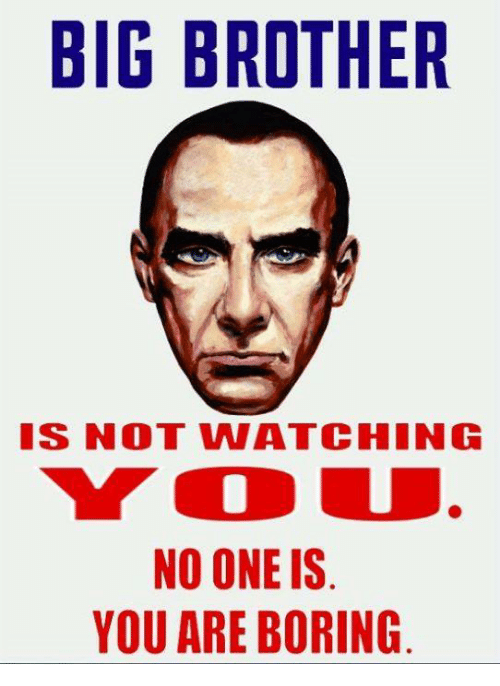Big Brother Is Not Watching No One Is You Are Boring Meme On Meme