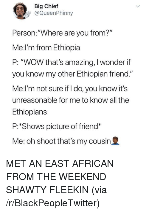 """Blackpeopletwitter, Ethiopians, and Wow: Big Chief  @QueenPhinny  Person.:""""Where are you from?""""  Me:l'm from Ethiopia  P: """"WOW that's amazing, I wonder if  you know my other Ethiopian friend.""""  Me:l'm not sure if I do, you know it's  unreasonable for me to know all the  Ethiopians  P:*Shows picture of friend*  Me: oh shoot that's my cousin2 <p>MET AN EAST AFRICAN FROM THE WEEKEND SHAWTY FLEEKIN (via /r/BlackPeopleTwitter)</p>"""