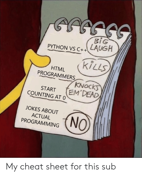 Jokes, Programming, and Python: BIG  LAUGH  PYTHON VS C++  kiLLS  HTML  PROGRAMMERS  KNOCKS  EM'DEAD  START  COUNTING AT 0  JOKES ABOUT  NO  ACTUAL  PROGRAMMING My cheat sheet for this sub