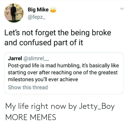 Being Broke, Confused, and Dank: Big Mike  @fepz  Let's not forget the being broke  and confused part of it  Jarrel@slimrel_  Post-grad life is mad humbling, it's basically like  starting over after reaching one of the greatest  milestones you'll ever achieve  Show this thread My life right now by Jetty_Boy MORE MEMES