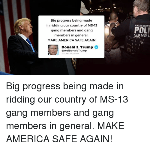 America, Gang, and Homeland: Big progress being made  in ridding our country of MS-13  gang members and gang  members in general  MAKE AMERICA SAFE AGAIN!  HOMELAND SECURITY N  POLI  Donald J. Trump  @realDonaldTrump  37 AM-27 3u1 2017 Big progress being made in ridding our country of MS-13 gang members and gang members in general. MAKE AMERICA SAFE AGAIN!