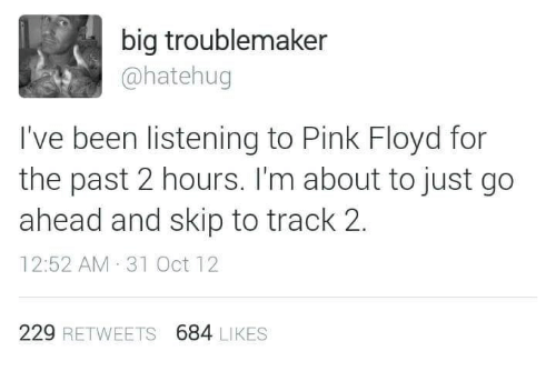 Big Troublemaker I've Been Listening to Pink Floyd for the