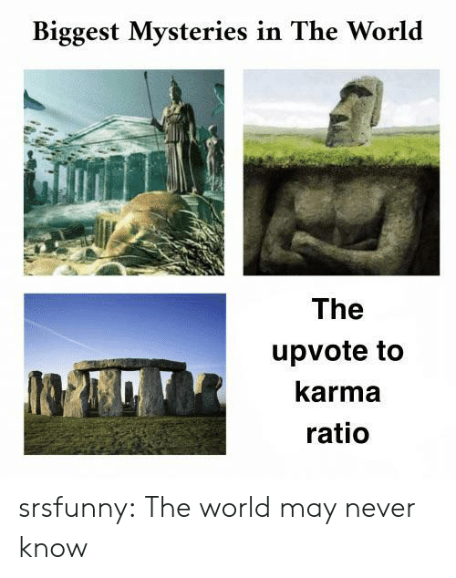Tumblr, Blog, and Karma: Biggest Mysteries in The World  The  upvote to  karma  ratio srsfunny:  The world may never know