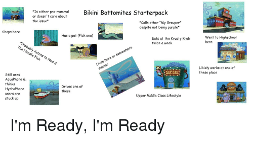 "SpongeBob, Bikini, and Lifestyle: Bikini Bottomites Starterpack  Is either pro-mammal  or doesn't care about  the issue  *Calls other ""My Grouper*  despite not being purple  Went to Highschool  here  Shops here  Eats at the Krusty Krab  Twice a week  Has a pet (Pick one)  Probably listens to  The Needle Fis  kh  Ned &  Likiely works at one of  these place  Lives here or somewhere  Similar  : ARCADE  Still usess  AquaPhone 6,  thinks  HydroPhone  users are  stuck up  3UIGE  BAR  Drives one of  these  Upper Mddle Class Lifestyle"