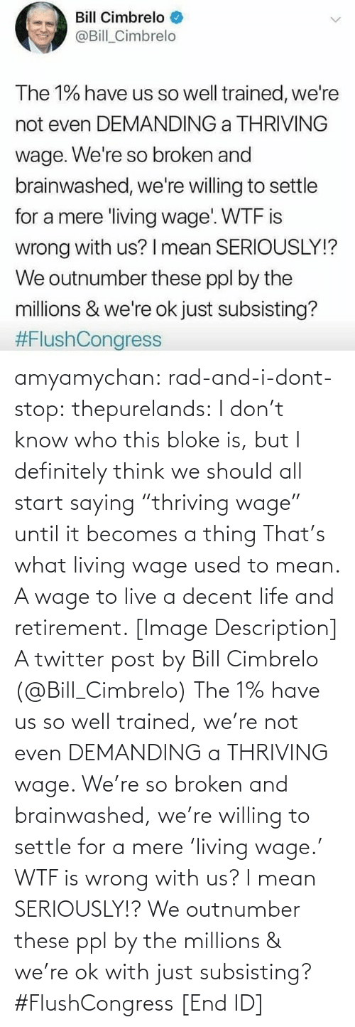 """Definitely, Life, and Target: Bill Cimbrelo  @Bill_Cimbrelo  The 1% have us so well trained, we're  not even DEMANDING a THRIVING  wage. We're so broken and  brainwashed, we're willing to settle  for a mere living wage WTF is  wrong with us? I mean SERIOUSLY!?  We outnumber these ppl by the  millions & we're ok just subsisting?  amyamychan:  rad-and-i-dont-stop:  thepurelands: I don't know who this bloke is, but I definitely think we should all start saying """"thriving wage"""" until it becomes a thing   That's what living wage used to mean. A wage to live a decent life and retirement.   [Image Description] A twitter post by Bill Cimbrelo (@Bill_Cimbrelo) The 1% have us so well trained, we're not even DEMANDING a THRIVING wage. We're so broken and brainwashed, we're willing to settle for a mere 'living wage.' WTF is wrong with us? I mean SERIOUSLY!? We outnumber these ppl by the millions & we're ok with just subsisting? #FlushCongress [End ID]"""
