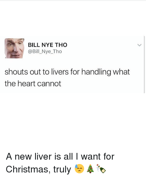 Bill Nye, Memes, and Bills: BILL NYE THO  @Bil Nye Tho  shouts out to livers for handling what  the heart cannot A new liver is all I want for Christmas, truly 😓🎄🍾