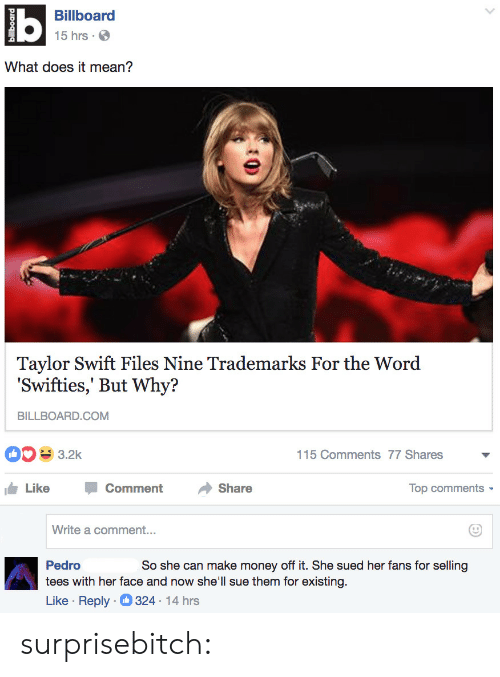 Billboard, Gif, and Money: Billboard  15 hrs.  What does it mean?  Taylor Swift Files Nine Trademarks For the Word  'Swifties,' But Why?  BILLBOARD.COM  115 Comments 77 Shares  Like -Comment →Share  Top comments  Write a comment...  So she can make money off it. She sued her fans for selling  Pedro  tees with her face and now she'll sue them for existing.  Like Reply 324 14 hrs surprisebitch: