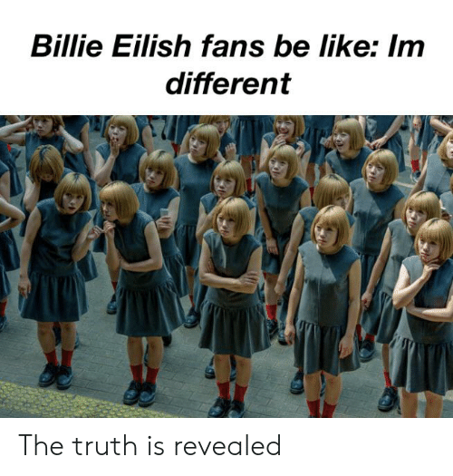 Be Like, Dank Memes, and Truth: Billie Eilish fans be like: Im  different The truth is revealed