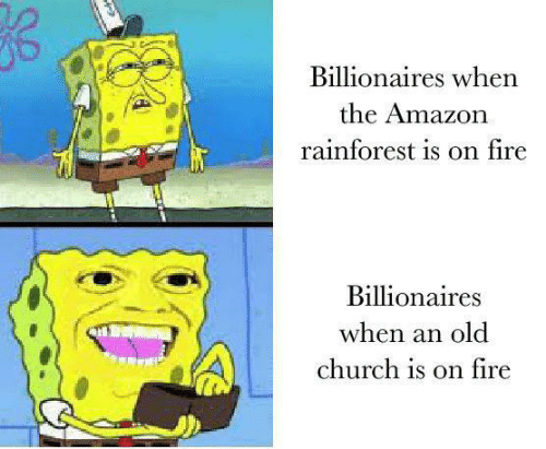 Amazon, Church, and Fire: Billionaires when  the Amazon  rainforest is on fire  Billionaires  when an old  church is on fire
