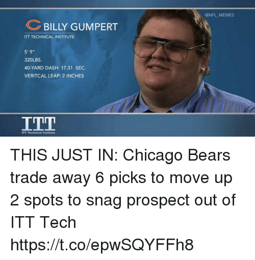 Chicago, Chicago Bears, and Football: BILLY GUMPERT  ITT TECHNICALINSTITUTE  5' 9  320LBS.  40-YARD DASH: 17.31 SEC.  VERITCAL LEAP: 2 INCHES  ITT Technical Institute  @NFL MEMES THIS JUST IN: Chicago Bears trade away 6 picks to move up 2 spots to snag prospect out of ITT Tech https://t.co/epwSQYFFh8
