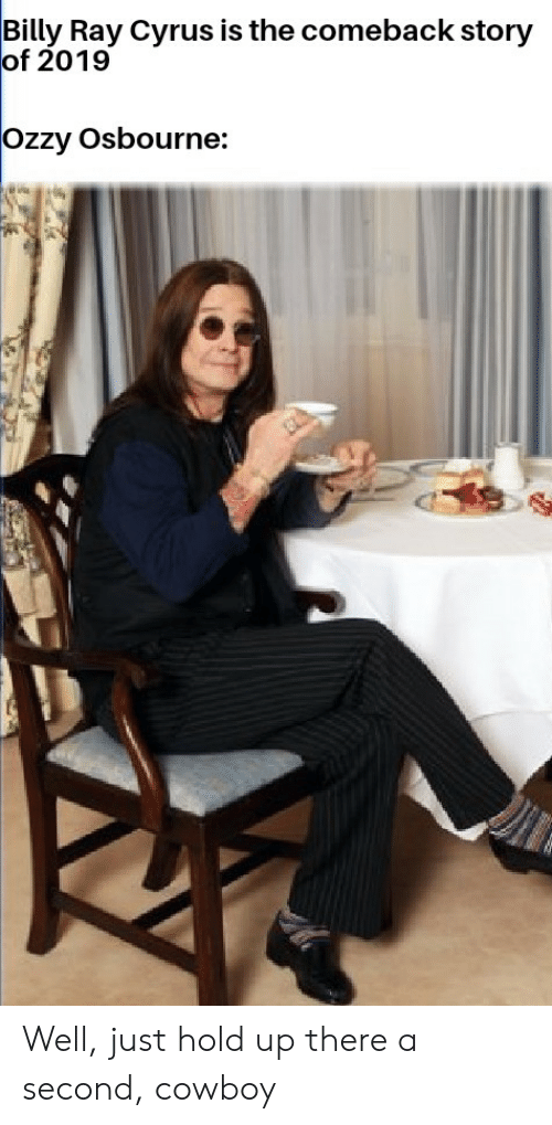Ozzy Osbourne, Reddit, and Cowboy: Billy Ray Cyrus is the comeback story  of 2019  Ozzy Osbourne: Well, just hold up there a second, cowboy