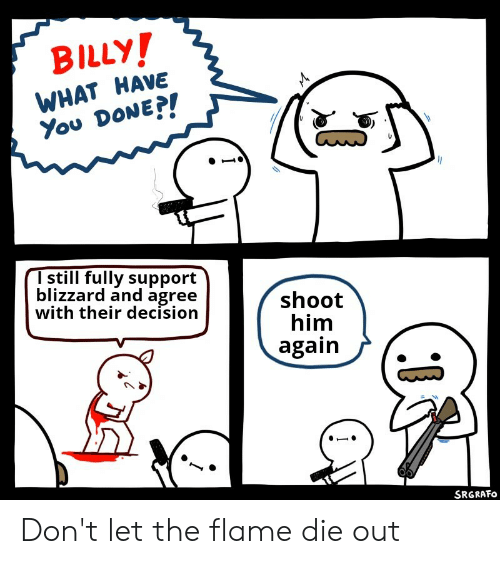 Reddit, Blizzard, and Him: BILLY!  WHAT HAVE  You DONEP!  I still fully support  blizzard and agree  with their decision  shoot  him  again  SRGRAFO  L Don't let the flame die out