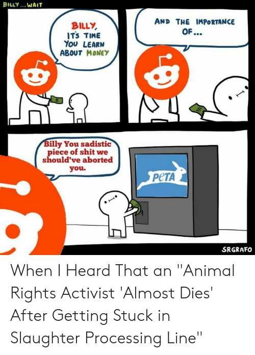 """Funny, Money, and Peta: BILY.. MAוT  AND THE IMPORTANCE  BILLY  ITS TIME  You LEARN  ABOUT MONEY  OF...  Billy You sadistic  piece of shitwe  should've aborted  you.  PETA  SRGRAFO When I Heard That an """"Animal Rights Activist 'Almost Dies' After Getting Stuck in Slaughter Processing Line"""""""