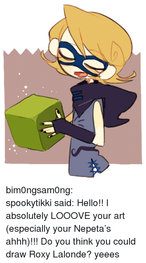 Anime, Fuck You, and Gif: bim0ngsam0ng:     spookytikkisaid:      Hello!! I absolutely LOOOVE your art (especially your Nepeta's ahhh)!!! Do you think you could draw Roxy Lalonde?  yeees