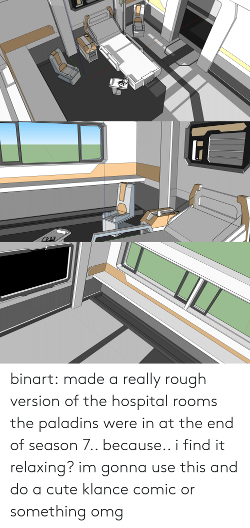 Cute, Omg, and Target: binart:    made a really rough version of the hospital rooms the paladins were in at the end of season 7.. because.. i find it relaxing?  im gonna use this and do a cute klance comic or something omg