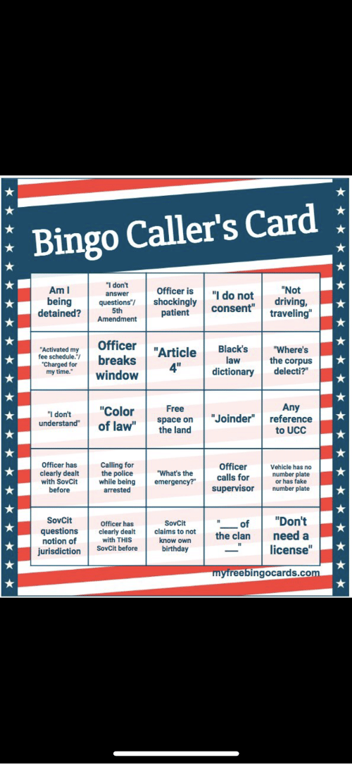 Bingo Callers Card I Dont Answer Am I Being Detained Not Driving